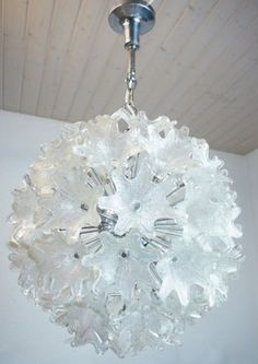 MURANO Chrome and Glass Flower SPUTNIK Chandelier by by muromant
