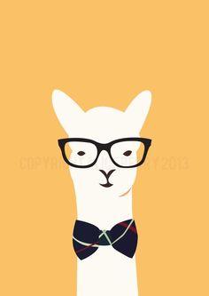 Hipster Llama Print - via DTLL.