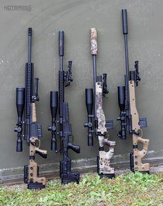 Side-folding bolt-action rifles suppressed