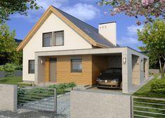 Projekt domu: ALAMO paliwo stałe wersja A z wiatą - Widok od frontu