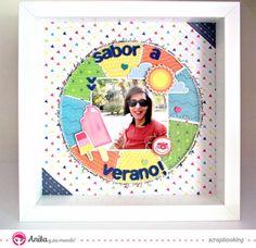 #Layout #verano hecho con #papel de #scrapbook de la marca española Anita y su mundo.