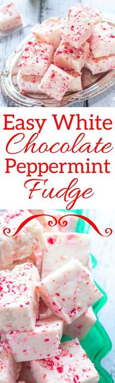 White Chocolate Peppermint Fudge - such an easy holiday treat. Peppermint Fudge is a great way to celebrate the holidays. It's a tasty, festive treat perfect for friends and family. Christmas Fudge, Christmas Snacks, Holiday Treats, Family Christmas, Christmas Cookies, Xmas, Christmas Candy, Holiday Bars, Holiday Gifts