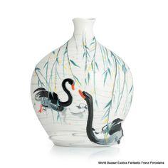 FZ02829 Black Swan Franz Porcelain L Vase (LE 588) Wu Guanzhong collection