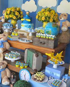 Festa Provençal - Site Oficial: Urso aviador! Transportation Party, Baby Boy Shower, Christening, Wings, Birthday, Bernardo, Anastasia, Gabriel, Parties