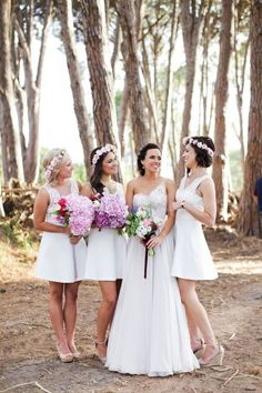 Boho Chic Bridesmaids with Flower Crowns and Colorful Bouquets | Justin Davis Photography on /SouthBoundBride/ via /aislesociety/