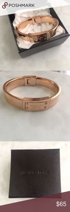 Michael Kors Rose Gold Bracelet Brand new never worn in box! I have no idea where the tag is but this has been shiny new in storage for over a year and needs a new home! Rose gold & comes with box!  🙅🙅 No Trading  💁 Reasonable Offers are Always Welcomed MICHAEL Michael Kors Jewelry Bracelets