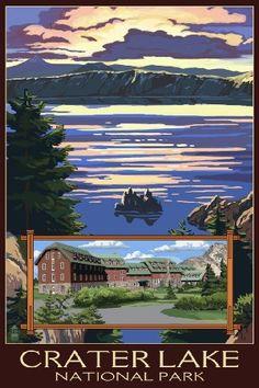 Crater Lake National Park, Oregon - Lake Scene and Lodge (9x12 Art Print, Wall Decor Travel Poster)