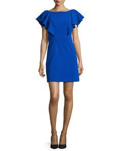 TAJRM Milly Double-Weave Ruffle-Sleeve Dress