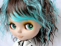 """Cheap Blythe Dolls   Details about Short BLUE & Brown Curly Hair Wig for 12"""" Blythe Doll"""