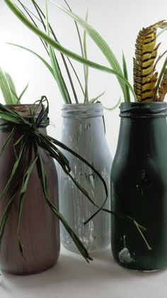 Two Shades of Gray - Distressed Shabby Cottage Vintage Style Milk Bottles (Deep Moss Green, pale denim and Davy's Gray) - Home Decor by palletablesshoppe. Explore more products on http://palletablesshoppe.etsy.com