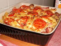 Cinco sentidos na cozinha: Massa gratinada no forno com fiambre de frango,sal...