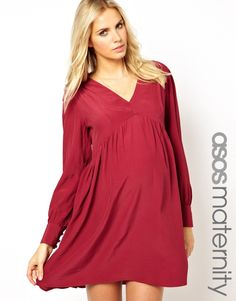 ASOS Maternity | ASOS Maternity Smock Dress With V Neck & Sleeve Detail at ASOS