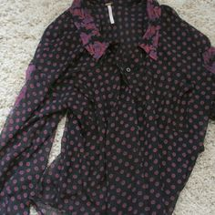 FP sheer blouse XS Free people button up blouse, size XS.  Polka dot all over, paisley collar and stripe up sleeve. Asymmetrical hem. Perfect shape! Free People Tops Button Down Shirts