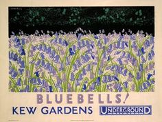 Bluebells Kew Gardens, by Fawkes, 1930 Wall Prints, Poster Prints, London Transport Museum, Public Transport, London Wall, Nature Posters, Art Posters, Railway Posters, Kew Gardens