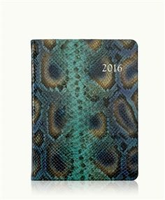 2016 Desk Diary, Peacock Embossed Python Leather