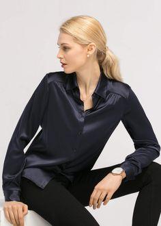2de99d7ef3181 Long Sleeves Collared 19MM Silk Blouse. lilysilk.com