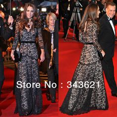 Hot Sale Kate Middleton Black Lace Dress V Neck Long Sleeves Women's Formal Evening gown RC 129-in Dresses from Apparel & Accessories on Aliexpress.com