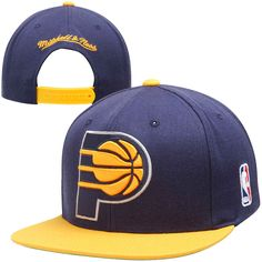 new styles fa656 804a1 Mitchell   Ness Indiana Pacers XL Logo 2-Tone Snapback Adjustable Hat - Navy  Blue Gold