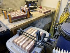 The first stages of creating end-grain cutting boards with purple heart, ambrosia maple and red grandis woods. End Grain Cutting Board, Cutting Boards, Citrus Oil, Wood Laminate, Safe Food, Woods, Purple, Heart