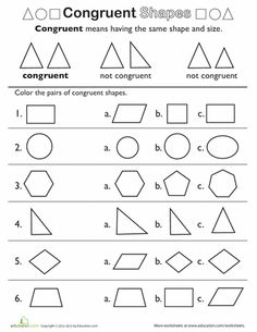 Worksheets Similar Shapes Worksheet Grade 4 our 5 favorite third grade reading worksheets shape basics congruent shapes