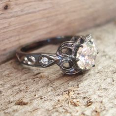 Oxidized gold diamond ring for the uncommon bride