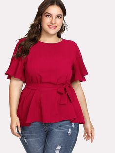 Plus Split Sleeve Belted Detail Top Plus Size Blouses, Plus Size Dresses, Plus Size Outfits, Curvy Fashion, Plus Size Fashion, Classic Fashion Looks, Modelos Plus Size, Girl With Curves, Summer Outfits Women