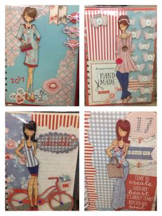 Agendas 2017 Prima Paper Dolls, Prima Doll Stamps, Hand Made Greeting Cards, Making Greeting Cards, Scrapbook Paper Crafts, Scrapbooking, Handmade Tags, Pocket Letters, Artist Trading Cards