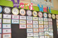 Erica Bohrers First Grade: Bright Polka Dot Classroom Word Wall classroom-decor Classroom Word Wall, Polka Dot Classroom, First Grade Classroom, Classroom Setting, Classroom Setup, Classroom Design, Classroom Displays, Kindergarten Classroom, School Classroom