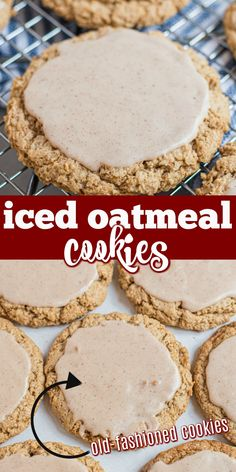 Delicious, copycat old fashioned Iced Oatmeal Cookies. Crunchy on the outside, chewy on the inside, these glazed Oatmeal cookies are a hit! Sweets Recipes, Desserts, Shugary Sweets, Oatmeal Cookies, Brownies, Sweet Treats, Appetizers, Baking, Food