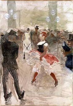 A l Elysee Montmartre - Henri de Toulouse-Lautrec. Toulouse-Lautrec is known along with Cezanne, Van Gogh, and Gaugin as one of the greatest painters of the Post-Impressionist period. Henri De Toulouse Lautrec, Maurice Utrillo, Edgar Degas, Klimt, Renoir, Claude Monet, French Artists, Op Art, Anime Comics