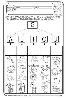 A Arte de Ensinar e Aprender: Atividade pronta - Família silábica da letra G                                                                                                                                                      Mais