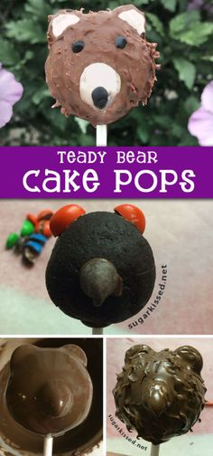 Almost too cute to eat! Step-by-step tutorial for making easy teddy bear cake pops with textured chocolate fur.