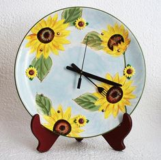 Kitchen Wall Clock Floral Design by RFForeverClocks on Etsy, $20.00