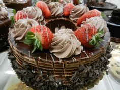 White chocolate-drizzled chocolate mousse cake