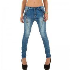 Dames skinny jeans met knopen