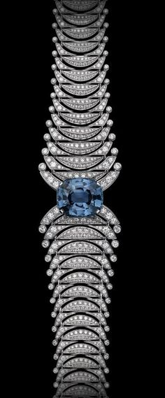Sapphire Bracelets Cartier Precious Lines and Architectures – High Jewelry Bracelet Platinum, one cushion-shaped sapphire, brilliants. Bijoux Art Deco, Art Deco Jewelry, High Jewelry, Jewelry Accessories, Jewelry Design, Jewelry Stores, Cartier Jewelry, Antique Jewelry, Jewelry Bracelets