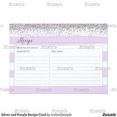 Silver and Purple Recipe Card