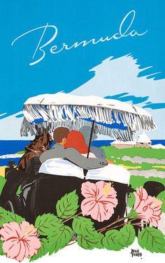 Circa 1940 Bermuda travel poster.