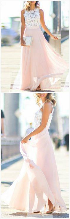 Lace Prom Dresses, White A-line/Princess Prom Dresses, Long White Evening Dresses, Modest Chiffon A Line Long Prom Dresses,Blush Pink White Lace Evening Dresses Princess Prom Dresses, Prom Dresses For Teens, A Line Prom Dresses, Cheap Prom Dresses, Homecoming Dresses, Long Dresses, Dress Prom, Chiffon Dresses, Sleeveless Dresses