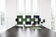 Green communicates peace, balance and harmony. Here an airy and light composition of Montana modules. #montana #furniture #interior #storage #danish #design #home #decor