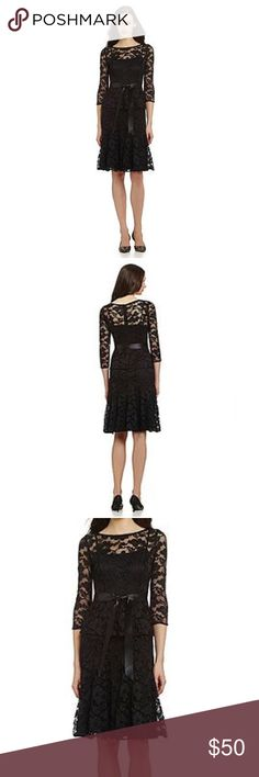 Leslie Fay black peplum lace dress Leslie Fay black peplum lace dress size 6 Leslie Fay Dresses Midi