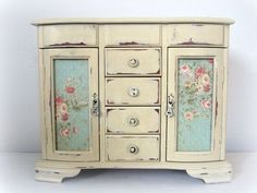 """Huge Shabby Chic Jewelry Box Dresser Armoire French  Monogrammed OOAK .. Follow Vintage https://www.pinterest.com/lyndanna/vintage/    .......Get Your Free Course """"Viral Images for Pinterest"""" Now at: CashForBloggers.com #shabbychicdressersvintage"""