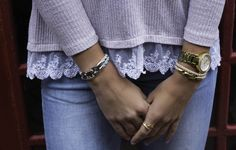 The Shell and Sky Elsewhere Knot Suede Bracelets make a sweet, soft combination with any summertime look (left). We love mixing metals and pairing the Wheat Endeavor Double Rope Bracelet and the Reef Ring with a favorite watch (right).   https://sailormadeusa.com/collections/womens-rings/products/reef-ring https://sailormadeusa.com/collections/womens-bracelets/products/endevour-double-bracelet