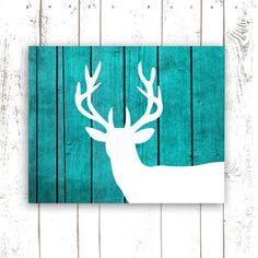 Deer Art Print on Wood Background, Rustic Turquoise Home Decor, Printable File, INSTANT DOWNLOAD, Deer Head Print on Etsy, $5.00