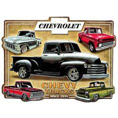 Chevy Trucks Collage Embossed Tin Sign⎜Open Road Brands