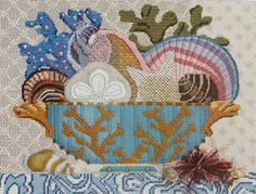 Compote Class…Florida Style Looking forward to 2014,we will be hosting a class on this Melissa Shirley canvas loaded with lots of embellishments and beadwork.Theoriginal stitch guide i…