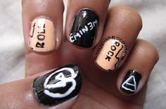 Rock And Roll A simple and fun musical theme inspired nailart