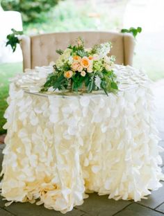 Petal Tablecloth  Wedding Tablecloth  by SimplyTimelessEvents