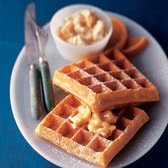 Delicate orange-maple butter tops these crisp golden Belgian waffles--perfect for a weekend breakfast or a special morning breakfast for guests. What's For Breakfast, Breakfast Dishes, Breakfast Recipes, Morning Breakfast, Maple Butter Recipe, Belgian Waffles, Incredible Edibles, Pancakes And Waffles, Waffle Recipes