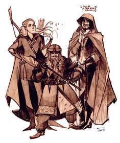 Lord of the Rings Trio by Phobs.deviantart.com // Haha, I love the look on Legolas' face.